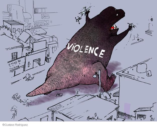 Gustavo Rodriguez  Garrincha's Editorial Cartoons 2013-12-05 violence