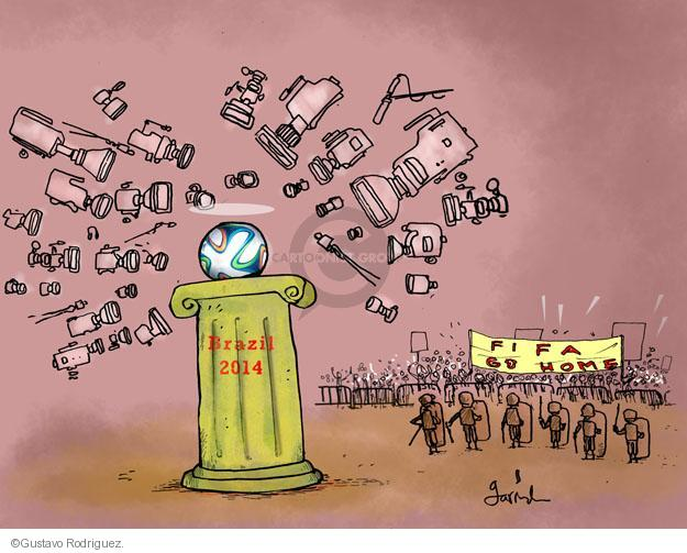 Gustavo Rodriguez  Garrincha's Editorial Cartoons 2014-06-10 police