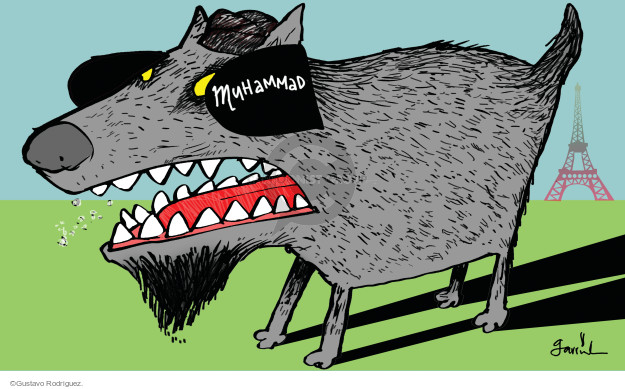 "Muhammad.  (Dog in Paris wears blinders that obstruct its vision.  Blinders are imprinted with ""Muhammad."")"