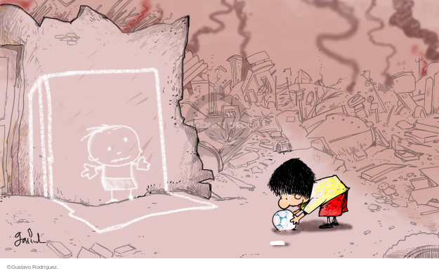 No caption. (A child in a war zone plays ball with a chalk drawing of another boy).