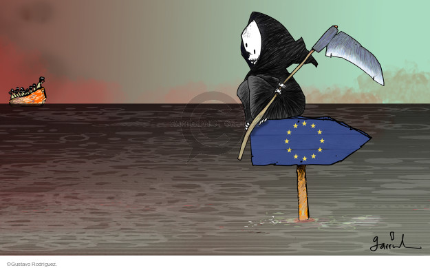 No caption. (The Grim Reaper sits atop a wooden flag of Europe. He is waiting for migrants coming in a boat).