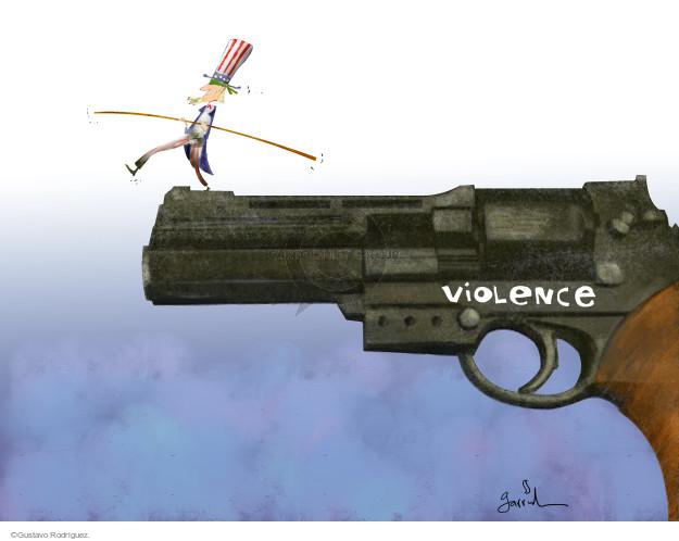 Gustavo Rodriguez  Garrincha's Editorial Cartoons 2015-08-26 gun violence