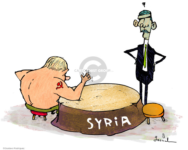 Cartoonist Gustavo Rodriguez  Garrincha's Editorial Cartoons 2015-10-09 Barack Obama Vladimir Putin Syria