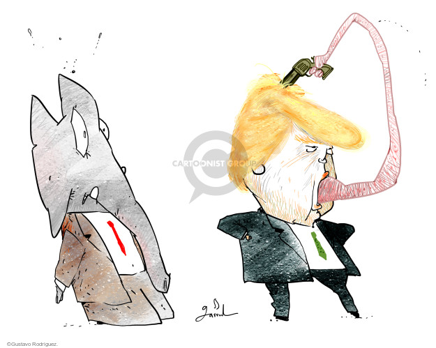 No caption (Donald Trumps tongue curves out of his mouth and holds a gun to his head as a Republican elephant looks on).