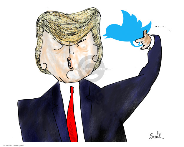 No caption (President Donald Trump holds the Twitter logo to his head like a gun).