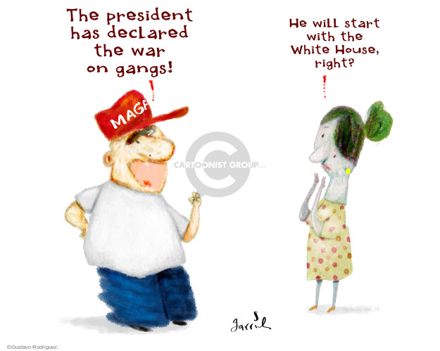 The president has declared the war on gangs! MAGA. He will start with the White House, right?