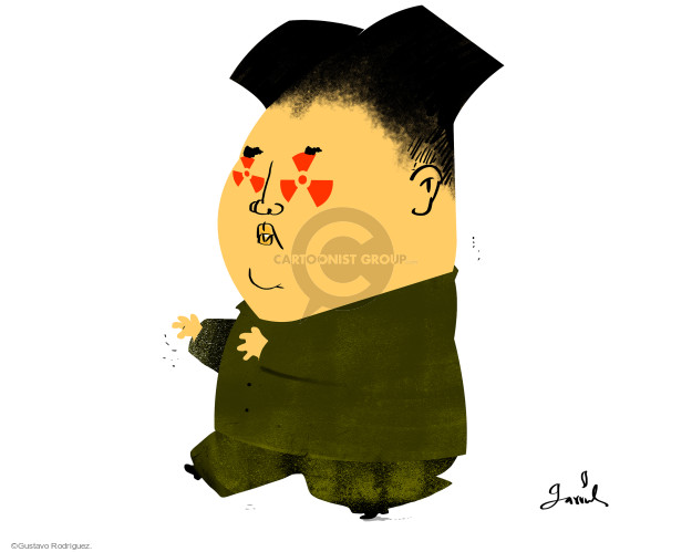 No caption (Kim Jong Un has nuclear symbols in his eyes).