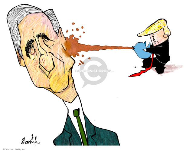 No caption (President Donald Trump aims a blue Twitter bird and squirts a red liquid from it onto Special Counsel Robert Mueller).