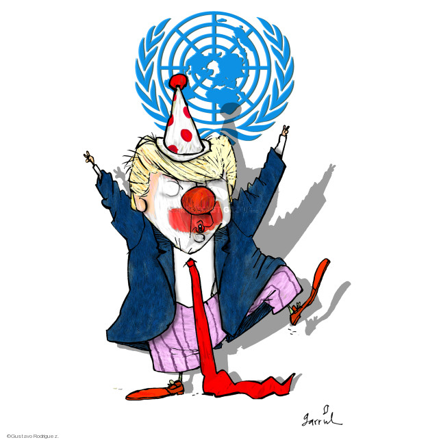 No caption (President Donald Trump, dressed as a clown, dances in front of the symbol for the United Nations).