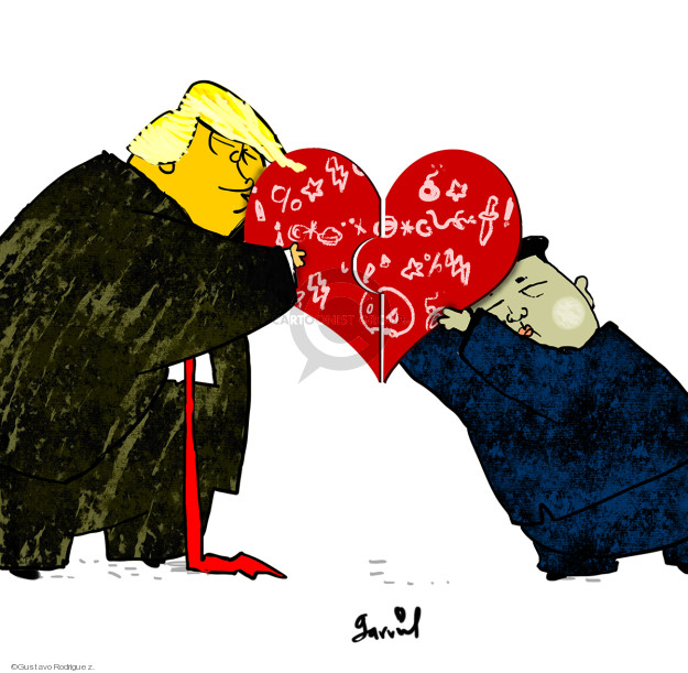 No caption (Donald Trump and Kim Jong Un hold two puzzle pieces together that form a heart).