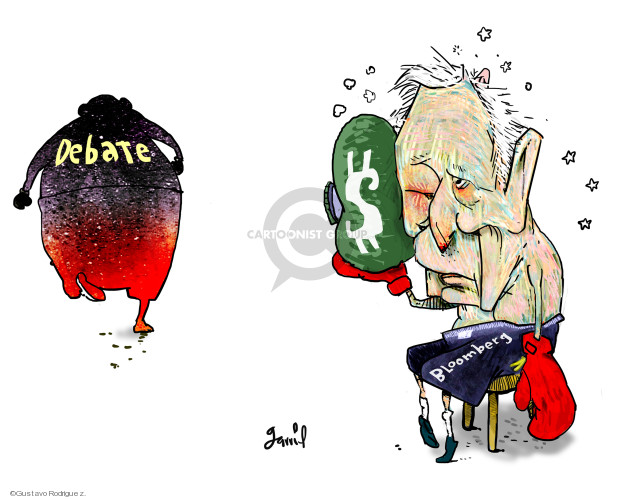 Gustavo Rodriguez  Garrincha's Editorial Cartoons 2020-02-25 2020 election debate