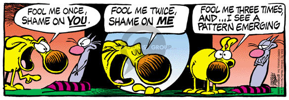 Comic Strip Mike Peters  Mother Goose and Grimm 2002-01-15 gullible