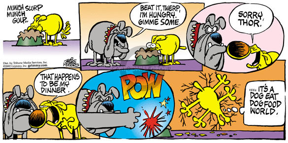 Comic Strip Mike Peters  Mother Goose and Grimm 2002-02-03 food fight