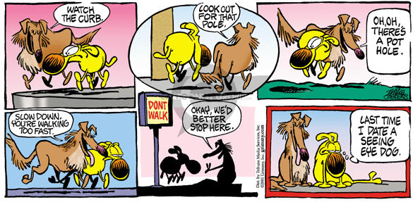 Cartoonist Mike Peters  Mother Goose and Grimm 2002-02-17 hole