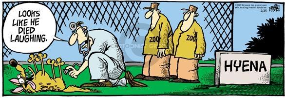 Zoo.  Zoo.  Looks like he died laughing.  Hyena.