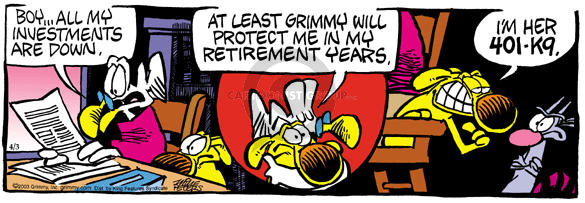 Cartoonist Mike Peters  Mother Goose and Grimm 2003-04-03 financial loss