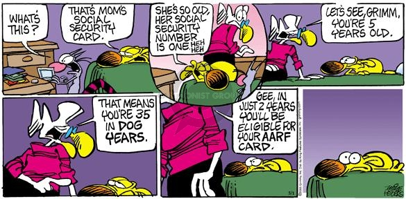 Cartoonist Mike Peters  Mother Goose and Grimm 2005-05-01 aging
