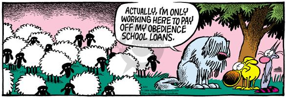 Actually, Im only working here to pay off my obedience school loans.