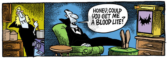 Cartoonist Mike Peters  Mother Goose and Grimm 2003-07-25 blood