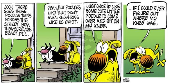 Cartoonist Mike Peters  Mother Goose and Grimm 2005-08-14 knee