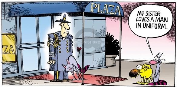 Comic Strip Mike Peters  Mother Goose and Grimm 2006-08-06 doorman