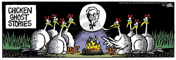 Cartoonist Mike Peters  Mother Goose and Grimm 2007-04-19 campfire story