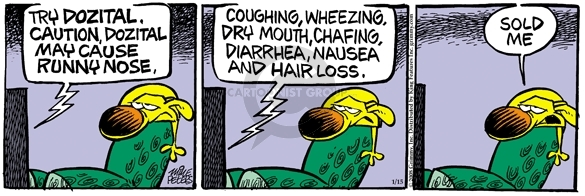 Cartoonist Mike Peters  Mother Goose and Grimm 2008-01-15 hair loss