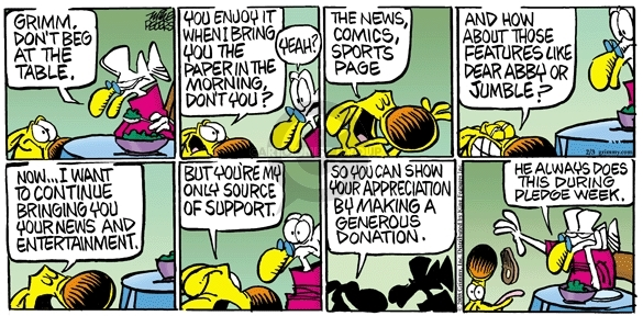Comic Strip Mike Peters  Mother Goose and Grimm 2008-02-03 television news