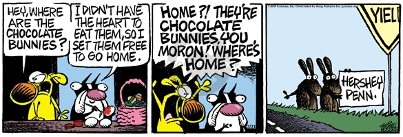 Comic Strip Mike Peters  Mother Goose and Grimm 2008-03-21 chocolate rabbit