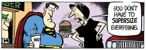 Comic Strip Mike Peters  Mother Goose and Grimm 2008-05-13 fast food hamburger
