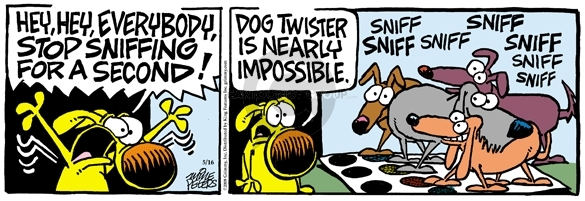 Hey, hey, everybody!  Stop sniffing for a second!  Dog Twister is nearly impossible.  Sniff sniff sniff sniff sniff.