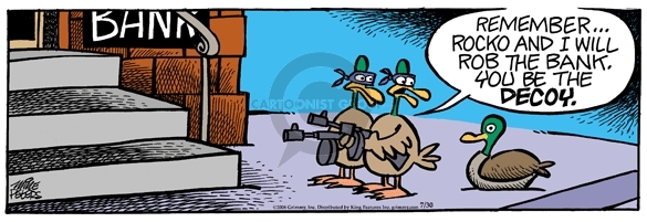 Comic Strip Mike Peters  Mother Goose and Grimm 2008-07-30 bank robber