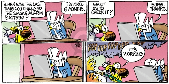Cartoonist Mike Peters  Mother Goose and Grimm 2008-08-24 alarm