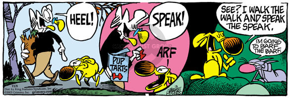 Comic Strip Mike Peters  Mother Goose and Grimm 2003-11-08 throw up
