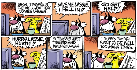 Cartoonist Mike Peters  Mother Goose and Grimm 2008-11-30 rescue dog