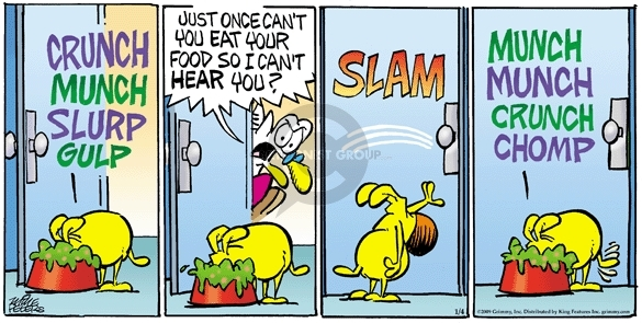 Comic Strip Mike Peters  Mother Goose and Grimm 2009-01-04 loud noise