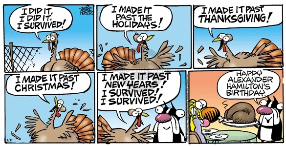 Cartoonist Mike Peters  Mother Goose and Grimm 2009-01-11 Thanksgiving meal