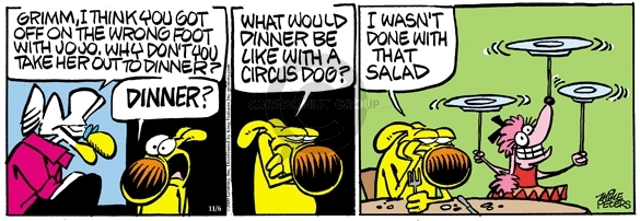 Comic Strip Mike Peters  Mother Goose and Grimm 2009-11-06 twirl