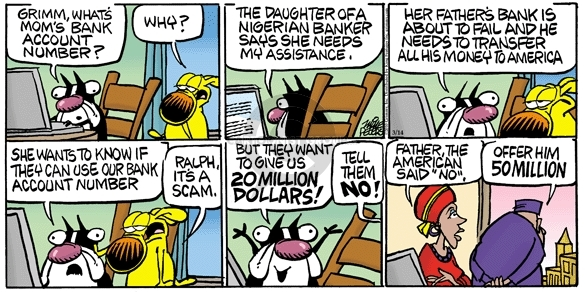 Cartoonist Mike Peters  Mother Goose and Grimm 2010-03-14 deception