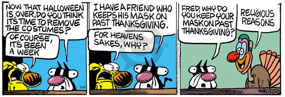 Cartoonist Mike Peters  Mother Goose and Grimm 2010-11-08 Thanksgiving meal
