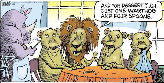 Comic Strip Mike Peters  Mother Goose and Grimm 2011-01-23 lion