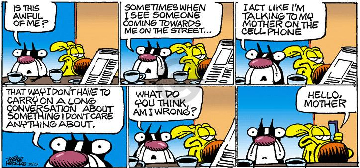 Comic Strip Mike Peters  Mother Goose and Grimm 2011-10-23 cell phone conversation