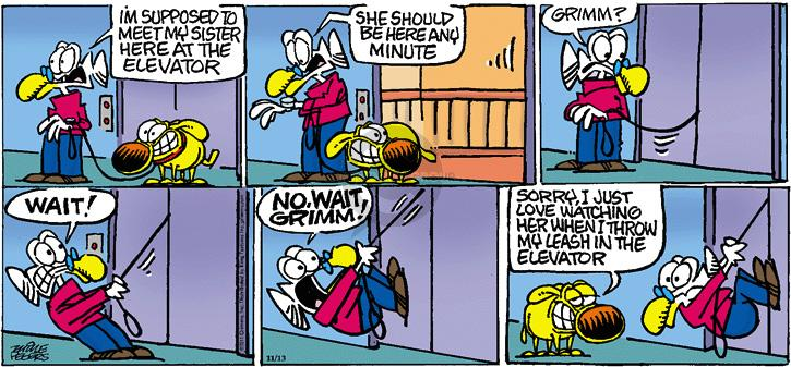 Cartoonist Mike Peters  Mother Goose and Grimm 2011-11-13 prank