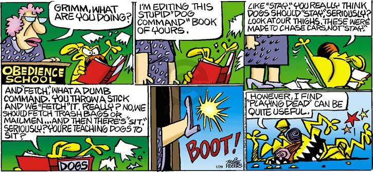 Comic Strip Mike Peters  Mother Goose and Grimm 2012-01-29 playing