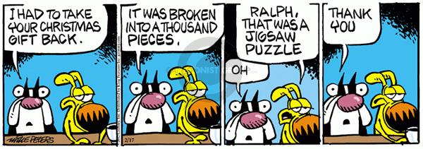 Cartoonist Mike Peters  Mother Goose and Grimm 2012-02-17 gift return