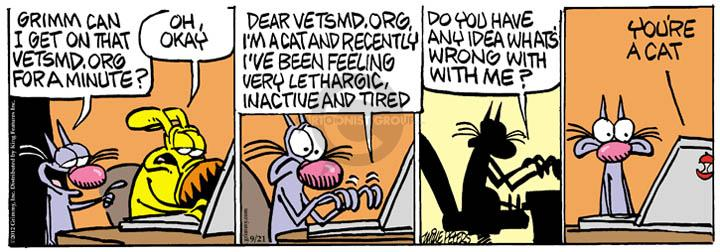 Comic Strip Mike Peters  Mother Goose and Grimm 2012-09-21 cat medicine