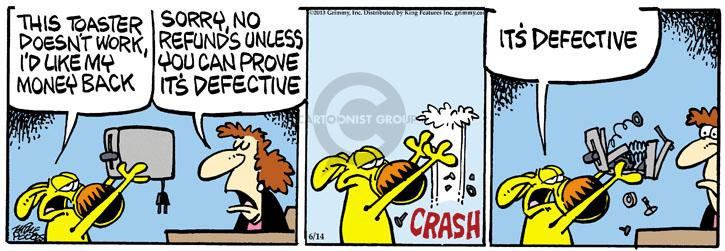 Comic Strip Mike Peters  Mother Goose and Grimm 2013-06-14 crash
