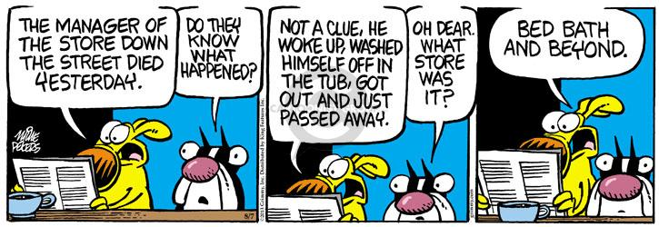 Cartoonist Mike Peters  Mother Goose and Grimm 2013-08-07 yesterday