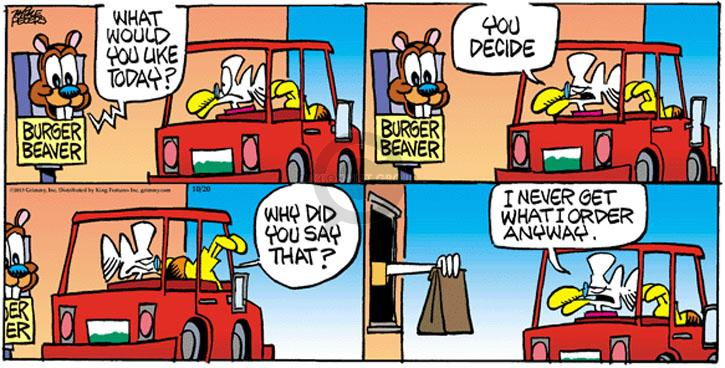 Comic Strip Mike Peters  Mother Goose and Grimm 2013-10-20 fast food