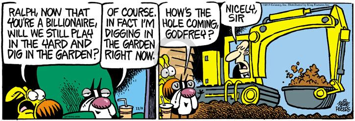 Cartoonist Mike Peters  Mother Goose and Grimm 2013-11-09 hole
